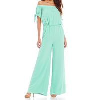 Chiffon bell-bottom Long Jumpsuit off shoulder ruffles Solid Sold By PC