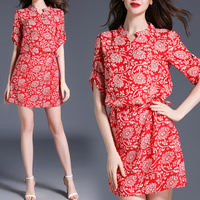 Acetate & Chiffon Princess One-piece Dress slimming printed floral red Sold By PC