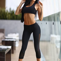 Spandex   Polyester Women Yoga Clothes Set transparent tank top   Pants patchwork Solid black Sold By Set