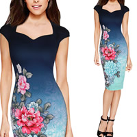 Polyester One-piece Dress knee-length printed floral gradient color Sold By PC