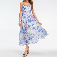 Chiffon Princess   High Waist Beach Dress slimming   backless printed shivering blue and white Sold By PC