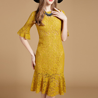 Lace Mermaid   A-line   High Waist One-piece Dress mid-long style hollow patchwork Solid yellow Sold By PC