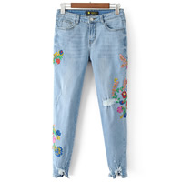 Cotton Denim Miracle Tassel   Middle Waist Women Jeans hollow embroidered floral blue Sold By PC