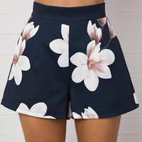 Cotton High Waist Shorts printed floral Navy Blue Sold By PC