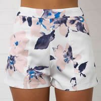 Cotton High Waist Shorts printed floral white Sold By PC