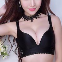 3/4 cup Cotton Push Up Seamless Bra hollow Solid Sold By PC