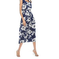 Mixed Fabric & Cotton One-piece Dress mid-calf printed floral blue Sold By PC