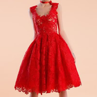 Lace & Polyester Princess & High Waist One-piece Dress mid-long style hollow patchwork floral Sold By PC
