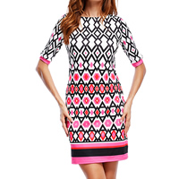 Cotton One-piece Dress printed geometric multi-colored Sold By PC