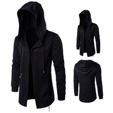 Cotton Plus Size Men Coat loose plain dyed Solid black Sold By PC