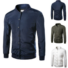 Polyester & Cotton Men Baseball Jacket plain dyed Solid Sold By PC