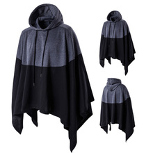 Cotton Plus Size Men Cloak loose patchwork Solid grey and black Sold By PC