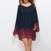 Cotton One-piece Dress mid-long style & backless printed shivering Navy Blue Sold By PC