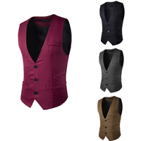 Polyester & Cotton Men Vest plain dyed Solid Sold By PC