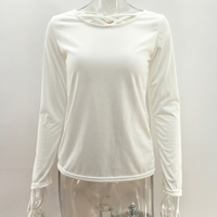 Cotton Women Long Sleeve T-shirt loose & hollow patchwork Solid Sold By PC
