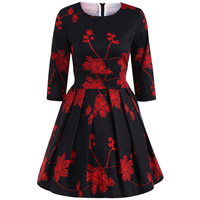 Cotton Pleated One-piece Dress printed floral black Sold By PC