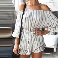 Polyester Women Romper slimming & backless off shoulder & hollow printed striped white Sold By PC