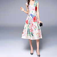 Acetate & Polyester A-line One-piece Dress mid-long style & slimming mid-calf printed floral beige Sold By PC