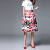 Polyester A-line & High Waist Skirt knee-length printed floral red Sold By PC