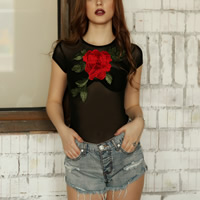 Acrylic & Spandex Sexy Teddy transparent embroider floral black Sold By PC