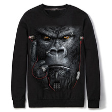 Spandex & Cotton Men Sweatshirts loose & different styles for choice printed animal prints black Sold By PC