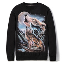 Polyester & Cotton Men Sweatshirts loose with Polyester & Cotton printed animal prints black Sold By PC