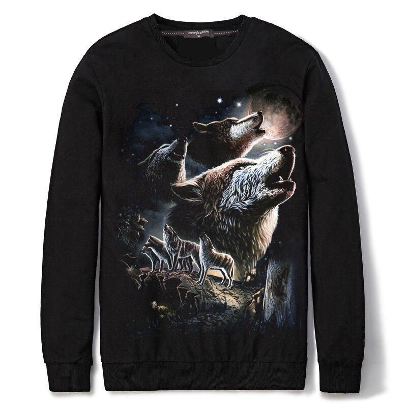 Spandex & Cotton Plus Size Men Sweatshirts with Cotton printed animal prints black Sold By PC