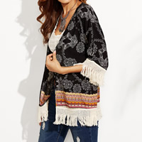 Polyester Miracle Tassel Women Sun Protection Clothing hollow with Lace patchwork shivering black Sold By PC