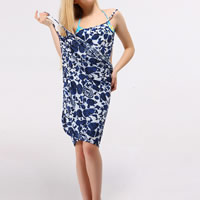 Milk Silk Beach Dress backless & loose printed shivering blue Size:Free Size Sold By PC