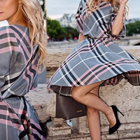 Velvet & Polyester & Cotton A-line & High Waist One-piece Dress printed plaid two different colored Sold By PC