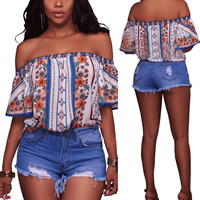 Denim Middle Waist Shorts flexible frayed Solid blue Sold By PC