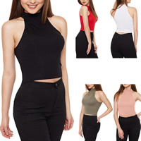 Polyester Crop Top Tank Top flexible plain dyed Solid Sold By PC