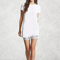 Cotton Women Short Sleeve T-Shirts mid-long style & side slit loose plain dyed Solid Sold By PC