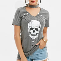 Cotton Women Short Sleeve T-Shirts printed skull pattern grey Sold By PC