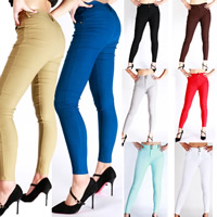 Polyester & Cotton Women Leggings lift the hip & slimming & skinny & breathable plain dyed Solid Sold By PC