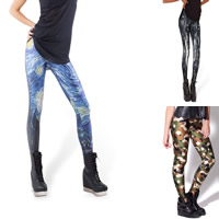 Polyester Plus Size Women Leggings lift the hip breathable with Spandex printed different pattern for choice Sold By PC