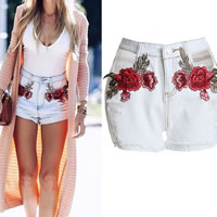 Cotton Denim Shorts hollow embroidered floral white Sold By PC