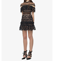Polyester A-line One-piece Dress hollow & transparent embroidered star pattern black Sold By PC