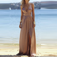 Polyester Beach Dress deep V & side slit & backless floor-length plain dyed Solid brown Sold By PC