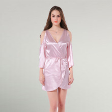 Satin & Spandex & Polyester Asymmetrical & High Waist One-piece Dress deep V off shoulder patchwork Solid pink Sold By PC