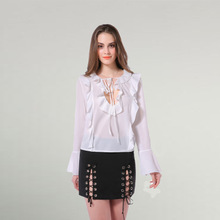 Chiffon & Polyester Women Long Sleeve Shirt deep V & backless loose patchwork Solid white Sold By PC