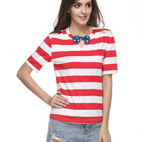 Polyester Women Short Sleeve T-Shirts hollow printed striped red white and blue Sold By PC