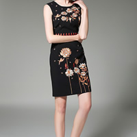 Acetate Step Skirt One-piece Dress slimming embroidered floral black Sold By PC