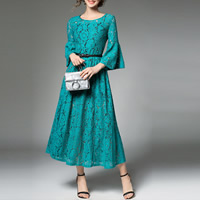 Lace & Polyester A-line & High Waist One-piece Dress mid-long style & slimming hollow & mid-calf patchwork floral blue Sold By PC