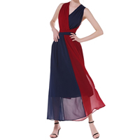 Chiffon Beach Dress backless patchwork Solid wine red Sold By PC