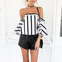 Chiffon & Polyester Women Three Quarter Sleeve Blouses backless off shoulder & loose & tube printed striped white Sold By PC