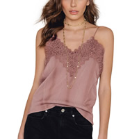Polyester Tank Top backless hollow with Lace patchwork Solid Sold By PC
