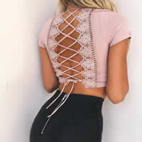 Polyester Crop Top & Lace Up Women Short Sleeve T-Shirts deep V & backless with Lace patchwork Solid Sold By PC