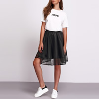 Polyester Skirt false two piece & knee-length plain dyed Solid black Size:Free Size Sold By PC