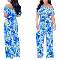 Polyester Long Jumpsuit backless with belt & off shoulder printed floral blue Sold By PC